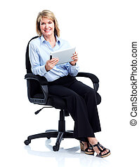 Smiling business woman with tablet computer. - Smiling...