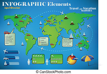 Infographic Travel Elements on a green world map for air,...