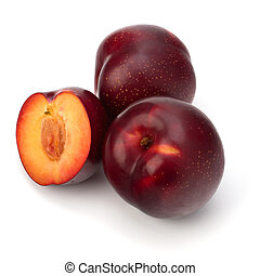 Red plum fruit isolated on white background