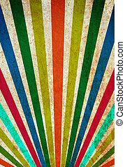 Multicolor sunbeams grunge background vintage poster.