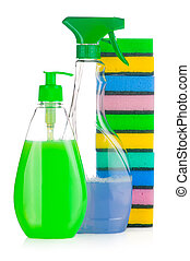 House cleaning supplies. Plastic bottles with detergent and...