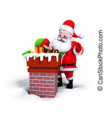 Santa Claus with Elves in Chimney - Santa Claus with Elves...