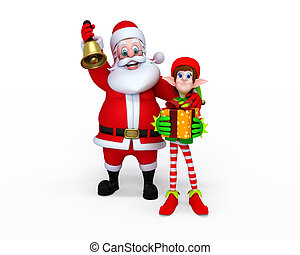 Santa Claus with Elves - Illustration of Santa Claus with...