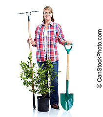Senior woman with rake and plant. Isolated over white...