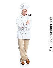 Beautiful professional chef woman Isolated over white...