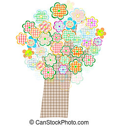 bird and tree with flowers and leaves. Vector illustration