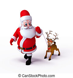 Santa Claus with reindeer - Happy Santa Claus and his...