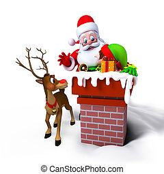 Santa Claus with Elves in chimney isolated on white...