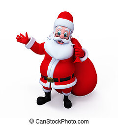 Santa Claus - Santa pointing towards blank space