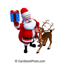 Santa Claus with reindeer - Illustration of Santa Claus sees...