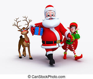 Santa Claus with Elves and reindeer - Illustration of happy...