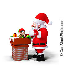 Santa with Chimney - Santa Claus with Elves in chimney...
