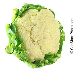 Whole Cauliflower over white background