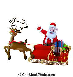 Santa with his sleigh - Happy Santa Claus with his sleigh