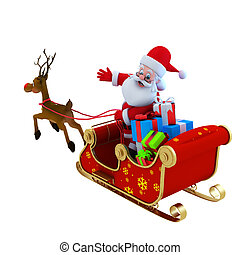 Santa with his Sleigh - Santa with his sleigh and lots of...