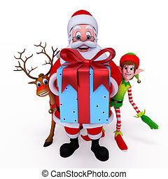 Santa with reindeer and Elves. - Santa Claus with reindeer...