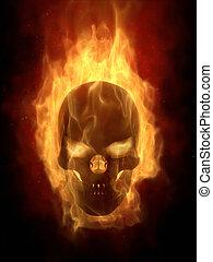 płonący, czaszka, gorący, płomień