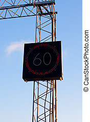 Speed limit sign - Electronic speed limit sign 60 on a...