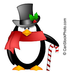 Penguin with Top Hat Red Scarf and Candy Cane Clipart - Cute...