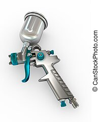 Spray Gun - 3D Illustration Spray Gun on White Background