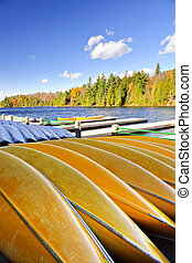 Canoe rental on autumn lake