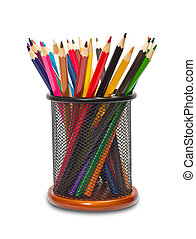 Colorful pencils in holder on white background
