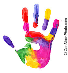 Handprint - Close up of colored hand print on white...