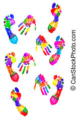 Handprint and footprint - Colored handprint and colored...