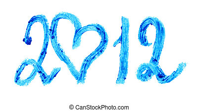 Word 2012 is written with blue lipstick. Isolated on white...