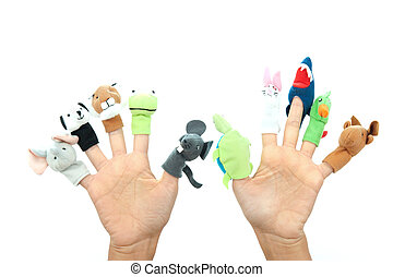 Hand puppets - Funny animals puppets in the fingers