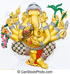 Indian or Hindu ganesha God Named Vighna Ganapati at temple...