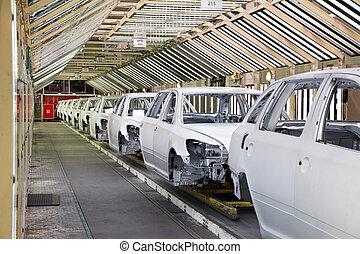 cars in a row at car factory