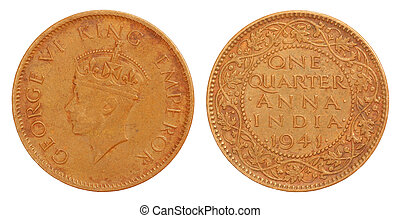Old Indian One Quarter Anna Coin of 1941