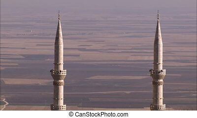 Two mosques - WS of two mosques in the town of Mardin Turkey...