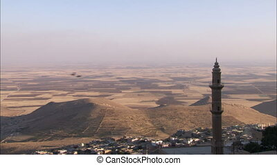 Town of Mardin Turkey - WS of arabic town with mosque