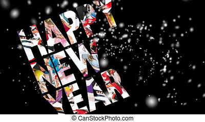New Year 2012, motion card, snowfall, loop, HD, 1080i