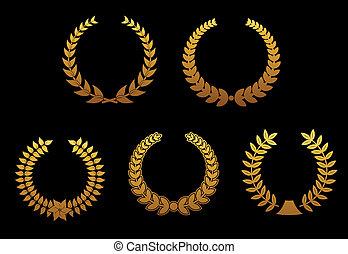 Golden laurel wreathes