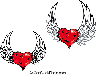 Damaged retro heart with wings for tattoo or t-shirt design