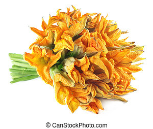 Edible pumpkin flower over white background
