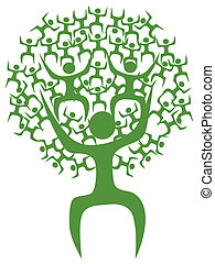 Abstract eco green tree man - isolated green eco tree man on...