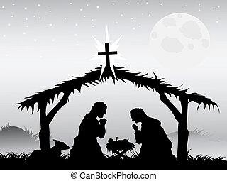 Nativité, scène, vecteur