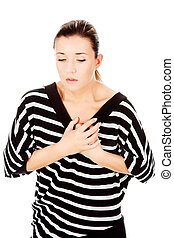 woman having chest pain, isolated on white background