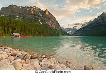 Lake Louise with glacier - Landscape view of Lake Louise...