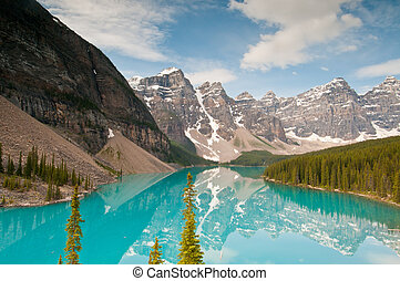 View of Moraine Lake - Breathtaking view of beautiful valley...