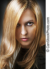 Fashion portrait of young sexy female model