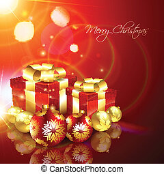 christmas gift box - beautiful christmas gift box vector...