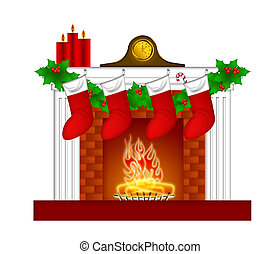 Fireplace Christmas Decoration wth Stockings and Garland -...
