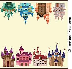 caricatura, castelo, cartão