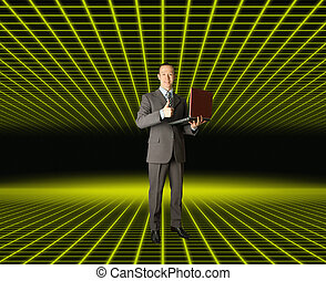 businessman in fantastic place - Full length portrait of...