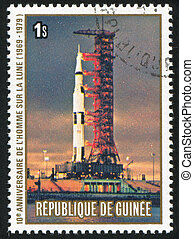 Apollo - GUINEA CIRCA 1980: stamp printed by Guinea, shows...